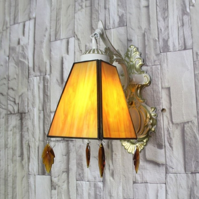 Tapered Wall Lamp with Crystal Decoration 1 Light Traditional Wall Sconce for Living Room