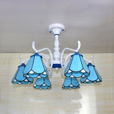 Tiffany Style Blue/White Ceiling Light Cone 6 Lights Glass Semi Flush Light for Living Room