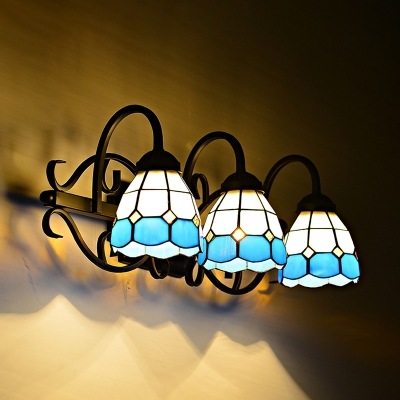 Tiffany Style Dome Wall Light Stained Glass 3 Lights White and Blue Sconce Light for Bathroom