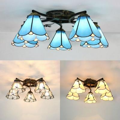 Tiffany Style Semi Flush Mount Light 5 Lights Beige/Blue/Clear Glass Light Fixture for Foyer