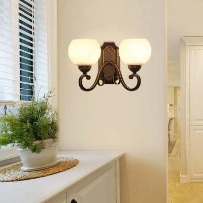Traditional Globe Sconce Light Frosted Glass 1/2 Lights White Wall