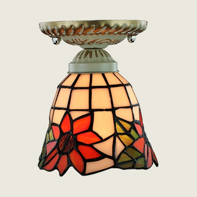 Vintage Style Ceiling Light 1 Light Stained Glass Sunflower/Lily/Peacock Tail Flush Mount Light