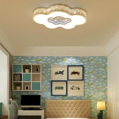 White Lighting/Stepless Dimming Ceiling Light Lovely Cloud Shade Flush Mount Light for Boy Girl Bedroom
