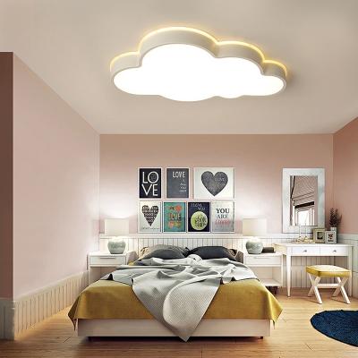 White/Stepless Dimming LED Light Creative Cloud Shape Acrylic Flush Mount Light for Kindergarten