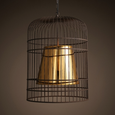 1 Light Birdcage Hanging Light Traditional Metal Chandelier with Adjustable Chain in Rust for Bar