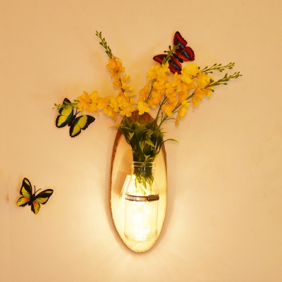 Glass and Wood Sting Lamp Rustic Style Fairy Light with Bottle and Flower for Dining Room Hallway