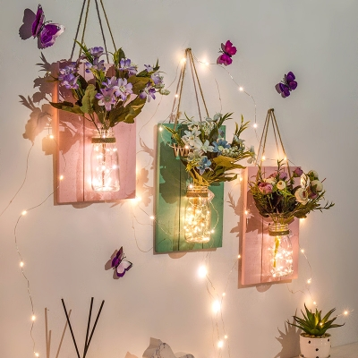 Beautiful Twinkle Light with Flower Decoration and Clear Bottle Wood and Glass String Light for Front Door