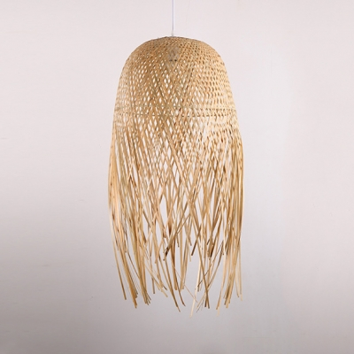 Rattan Pendant Light Single Light Antique Style Hanging Lamp in Beige for Coffee Shop Restaurant