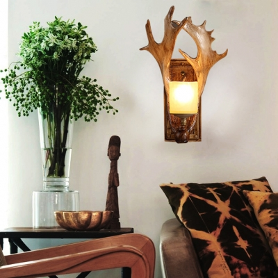 Antique Style Brown Wall Lamp with Deer Horn Single Light Resin Wall Light for Coffee Shop Office