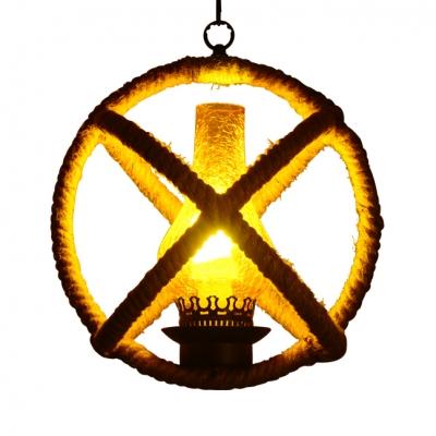 Antique Style Kerosene Pendant Light with Rope Globe Shade Single Light Beige Hanging Light for Kitchen