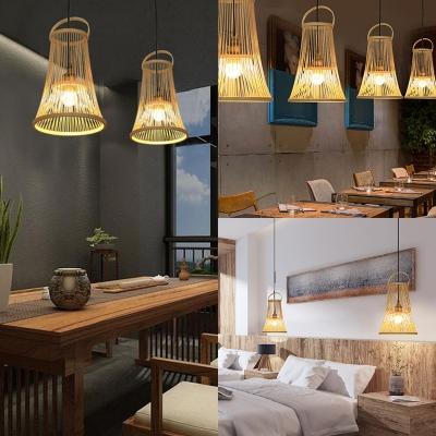 Antique Style Pendant Lighting Single Light Bamboo Bell Shape Beige Ceiling Fixture for Kitchen