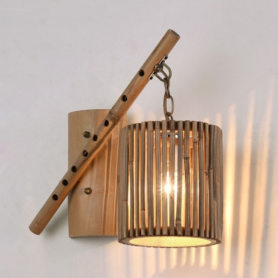 Bamboo Cylinder Hanging Wall Sconce Rustic 1 Light Wall Lamp for Bar Restaurant Hallway, 13