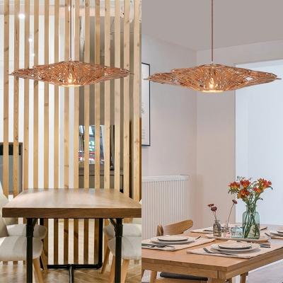 Beige Curved Pendant Lighting Single Light Rustic Style Wood Ceiling Light for Living Room