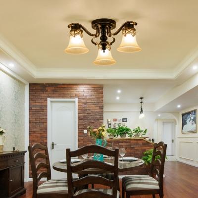 Bell Dining Room Semi Flush Light Metal 3/6/8/10 Lights Rustic Style Ceiling Light in Black