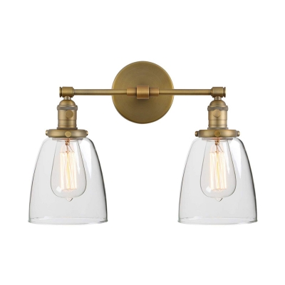 Bell Shape Wall Light Metal and Clear Glass 2 Light Industrial Wall Lamp in Brass for Dining Room Bathroom