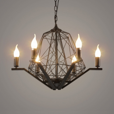 Black Iron Wire Pendant Light 6 Lights Antique Metal Hanging Light for Dining Room Hotel