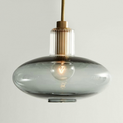 Blue/Smoke Gray Oval Ceiling Light 1 Light Traditional Glass Hanging Lamp for Bedroom Bathroom