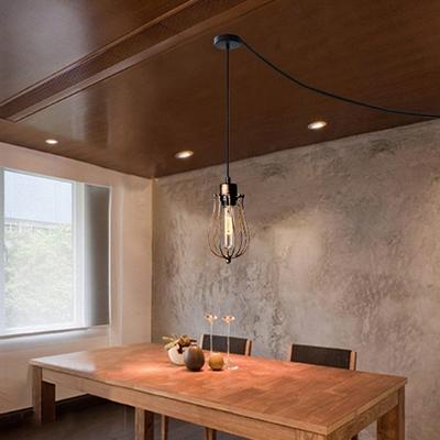 Bulb Shape Wire Caged Pendant Lighting 1 Light Industrial Metal Hanging Light for Cafe Hallway