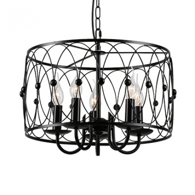 Candle Living Room Chandelier with Drum Shape Metal 6 Lights Traditional Hanging Light in Black