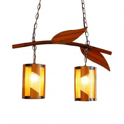 Cylinder Chandelier Light 2 Lights Antique Style Wood Pendant Lamp with Leaf Decoration for Bedroom