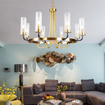 Cylinder Shade Chandelier 6/8 Lights Traditional Metal and Clear Glass Hanging Light for Living Room
