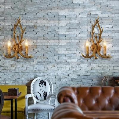 Deer Horn Wall Light Dining Room Living Room 2 Lights Antique Style Sconce in Brass