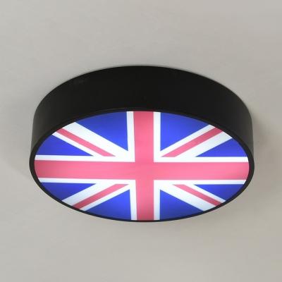 Drum Flush Light Industrial Acrylic LED Flush Mount Light with National Flag of United Kingdom