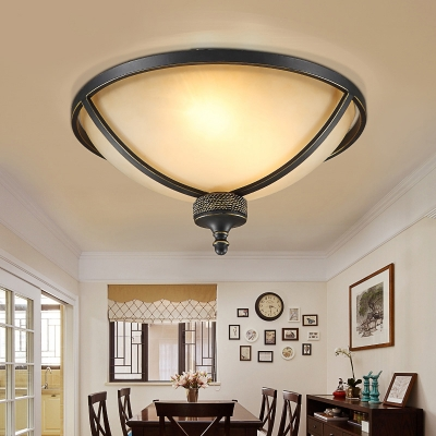 Frosted Gl Dome Ceiling Light Dining Room Foyer 3 Lights Flush