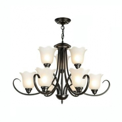 brand new 2a7c6 470d7 Frosted Glass Flower Chandelier Living Room 9 Lights Traditional