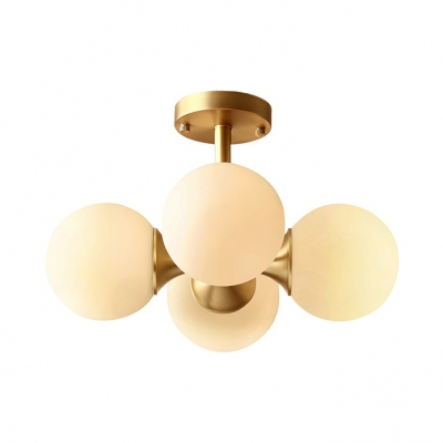 Frosted Glass Globe Semi Ceiling Mount Light 4 Lights European Style Ceiling Lamp in Brass for Shop