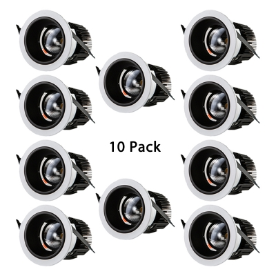 (10 Pack)Gallery Foyer LED Recessed Down Light 10/20W Circle COB Flush Mount Recessed in White/Warm White