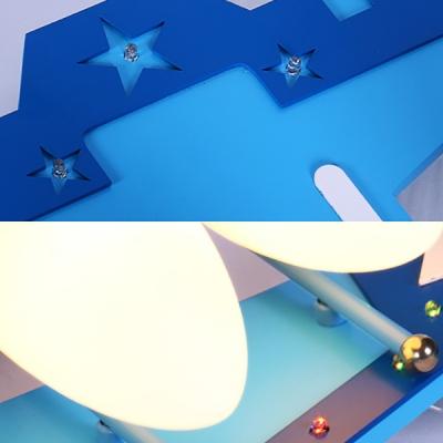 Girl Boy Bedroom LED Light Fixture Creative Plane Shape Metal Glass Ceiling Mount Light
