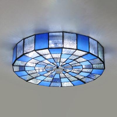 Glass Drum Flush Mount Light Living Room 1 Light European Style Ceiling Lamp in White/Blue