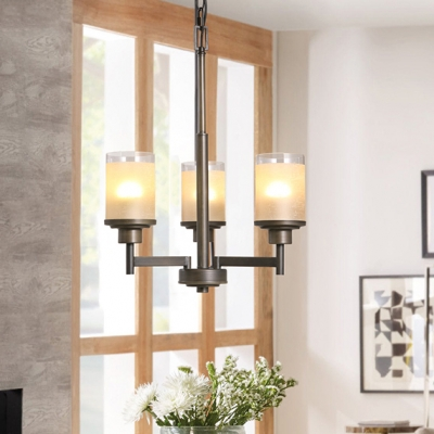 Height Adjustable Cylinder Chandelier Metal and Glass Traditional Light Fixture for Living Room