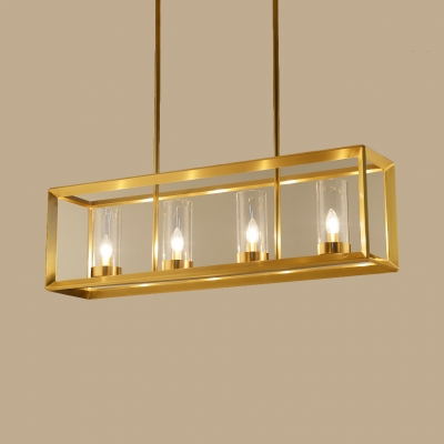 Living Room Kitchen Rectangle Hanging Light Metal Glass 3/4/5 Lights Creative Gold Island Light