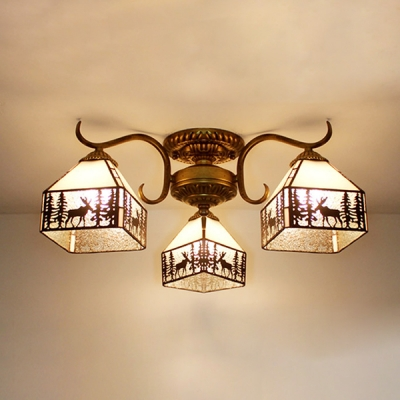 Living Room Semi Flush Ceiling Light Glass 3 Lights Rustic Style Deer Pattern Ceiling Fixture