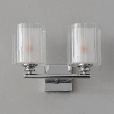 Metal and Glass Cylinder Wall Lamp Bedroom Living Room 2 Lights Modern LED Wall Light in Chrome