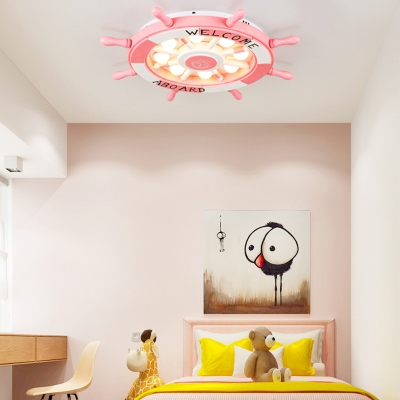 Pink Rudder Shape Ceiling Light Fixture Child Bedroom Third Gear/Stpeless Dimming Flush Mount Light