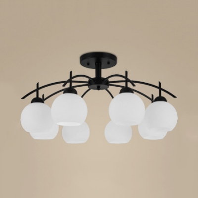 Restaurant Foyer White Globe Semi Flush Mount Light Metal and Frosted Glass 8 Lights Rustic Style Light Fixture