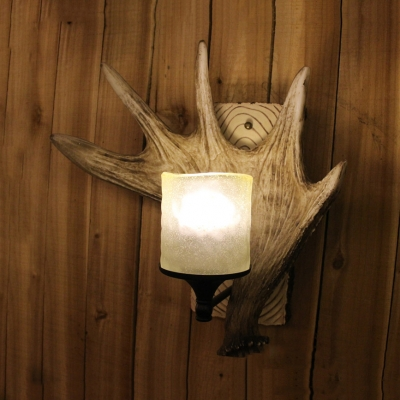Restaurant Hallway Antlers Wall Light Resin and Frosted Glass Single Light Vintage Style Wall Lamp