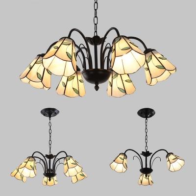 Rustic Style Leaf Ceiling Light Metal 3/5/6 Lights Black Overhead Light for Study Bedroom