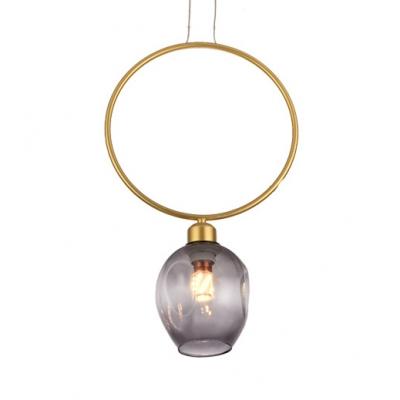 Single Light Ring Pendant Light Vintage Glass Hanging Lamp in Black/Gold for Living Room, HL516197