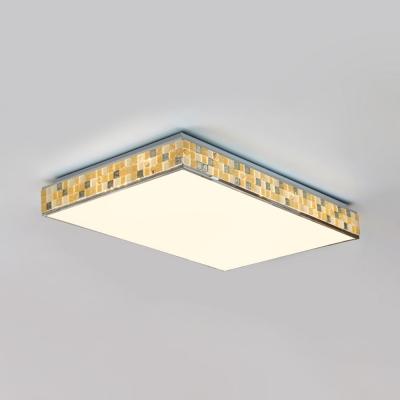 Square/Rectangle Bedroom Ceiling Light Acrylic 1 Light Modern Flush Mount Light in Yellow