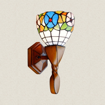 Stained Glass Wood Wall Lamp Living Room 1 Light Bohemian Style Flower Wall Light for Bedroom