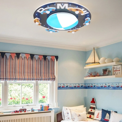 Blue Round Ceiling Mount Light Boy Girl Bedroom Creative Car Pattern Flush Mount Light
