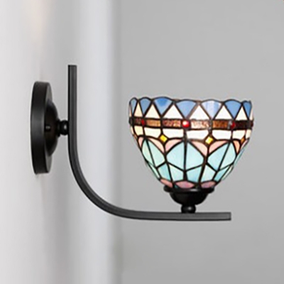 Tiffany Style Antique Sconce Light Cone/Dome 1 Light Glass Wall Light for Bedroom Kitchen