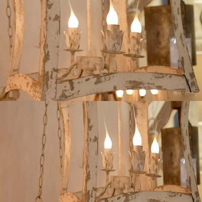 Vintage Style Candle Pendant Lamp Metal 4 Lights White Chandelier for Dining Room Kitchen