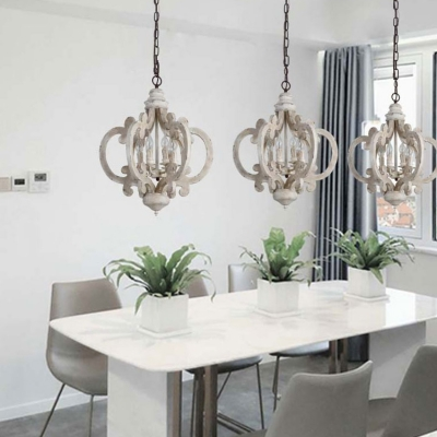 Wood Candle Shape Chandelier Living Room Dining Room 6 Lights Rustic Style Suspension Light in White