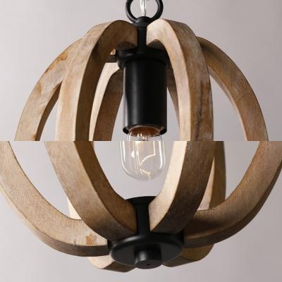 Wood Ceiling Pendant Dining Room Single Light Vintage Style Globe/Melon Hanging Light