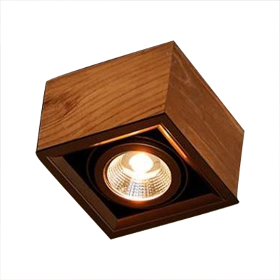 Wood Square LED Spot Light 5W Wireless High Brightness Ceiling Light Fixture in White/Warm